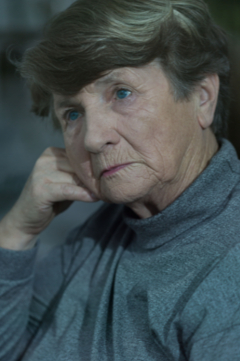 older woman looking upset